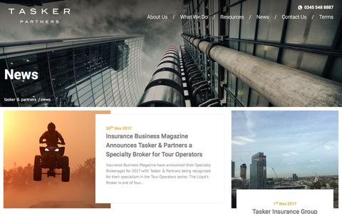 Screenshot of Press Page taskerpartners.com - News - captured Sept. 21, 2018
