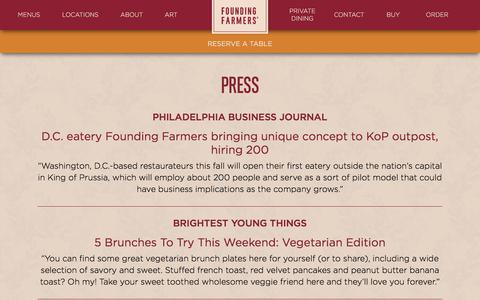 Screenshot of Press Page wearefoundingfarmers.com - Press | Founding Farmers - captured Oct. 13, 2017