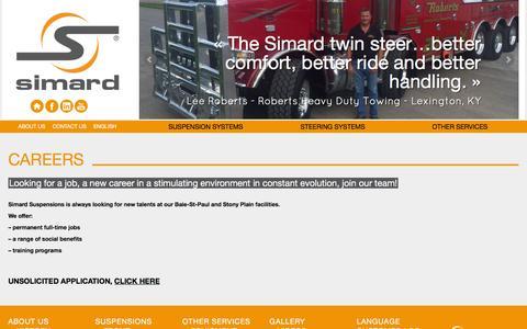 Screenshot of Jobs Page simardsuspensions.com - Careers & Job offers : Heavy truck industry | Simard - captured Nov. 30, 2016
