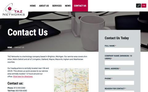 Screenshot of Contact Page taznetworks.com - Contact Us - IT Service and Support Detroit Ann Arbor Michigan - captured Feb. 14, 2016