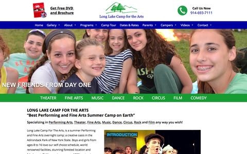 Screenshot of Home Page longlakecamp.com - Performing Arts Camp and Fine Arts Camp | Long Lake Arts Camp | Music | Dance | Acting | Rock Bands | Circus - captured Feb. 1, 2016