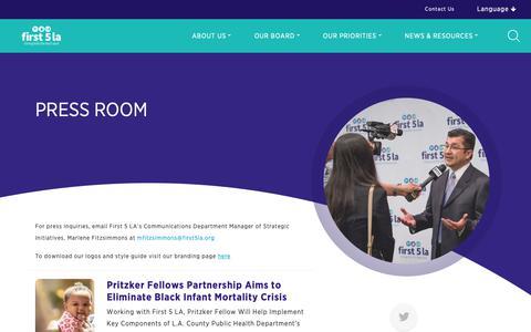 Screenshot of Press Page first5la.org - Press Room | First 5 LA - captured Dec. 9, 2018