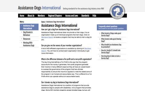 Screenshot of FAQ Page assistancedogsinternational.org - Assistance Dogs International : Assistance Dogs International - captured Oct. 4, 2014
