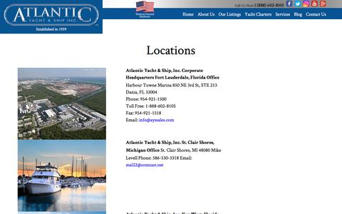 Screenshot of Locations Page atlanticyachtandship.com - Atlantic Yacht and Ship Locations  : Atlantic Yacht & Ship, Inc. - captured July 5, 2017