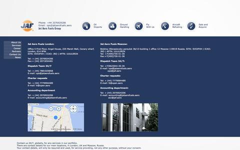 Screenshot of Contact Page jetaerofuels.aero - Jet Aero Fuels - Contact Us - Contact JAF. - captured Sept. 30, 2014