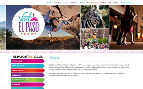 Screenshot of Press Page visitelpaso.com - Media - Destination El Paso | El Paso, Texas - captured Oct. 30, 2014