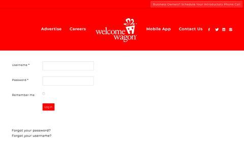 Screenshot of Login Page welcomewagon.com - Welcome Wagon - Login - captured Sept. 20, 2018