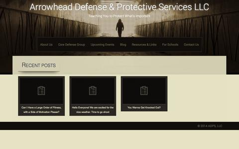 Screenshot of Blog adps-llc.com - Blog | Arrowhead Defense & Protective Services LLC | Teaching You to Protect What's Important - captured Sept. 30, 2014