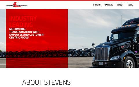 Screenshot of Home Page stevenstransport.com - Stevens Transport | Temperature-Controlled Logistics Services - captured Oct. 20, 2018