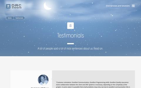 Screenshot of Testimonials Page drcsystems.com - Testimonials - DRC Systems - captured Jan. 7, 2016