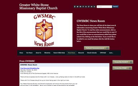 Screenshot of Press Page gwsmbc.org - News Room - Greater White Stone Missionary Baptist Church - captured Oct. 3, 2014
