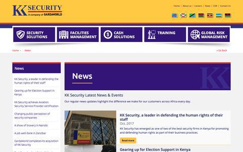 Screenshot of Press Page kksecurity.com - KK Security - News - captured Nov. 14, 2018