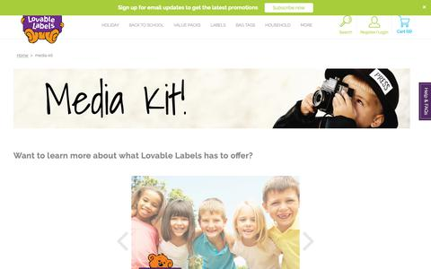 Screenshot of Press Page lovablelabels.ca - media-kit | Lovable Labels - captured Dec. 13, 2018