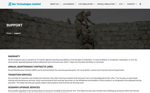 Screenshot of Support Page zentechnologies.com - Zen Technologies Limited - Support - captured Oct. 18, 2018