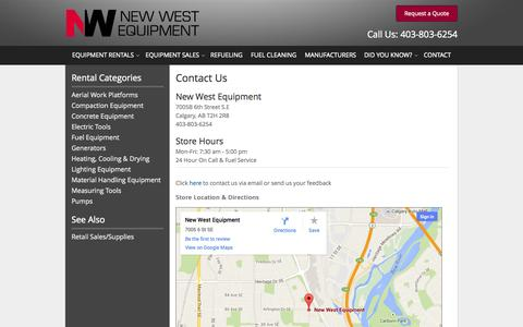 Screenshot of Contact Page newwestequipment.com - How to Contact New West Equipment in Calgary | Hours & Directions to New West Equipment in Calgary AB, Airdrie, Cochrane, Chestermere, Okotoks, & Irricana Alberta - captured Nov. 5, 2014