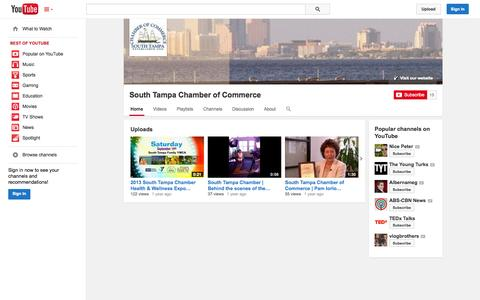 Screenshot of YouTube Page youtube.com - South Tampa Chamber of Commerce  - YouTube - captured Oct. 26, 2014