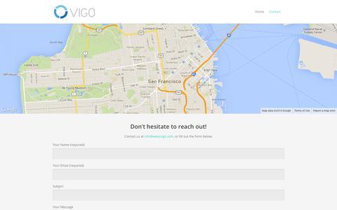 Screenshot of Contact Page wearvigo.com - Vigo  | Contact - captured Sept. 17, 2014
