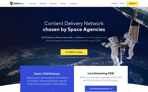 Screenshot of Home Page cdn77.com - Content Delivery Network (CDN) Used By Space Agencies | CDN77.com - captured Nov. 16, 2018