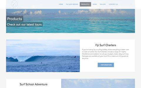 Screenshot of Products Page surfarifiji.com - Fiji fishing charters, game fishing, surfing fiji, reef breaks - captured Sept. 30, 2014