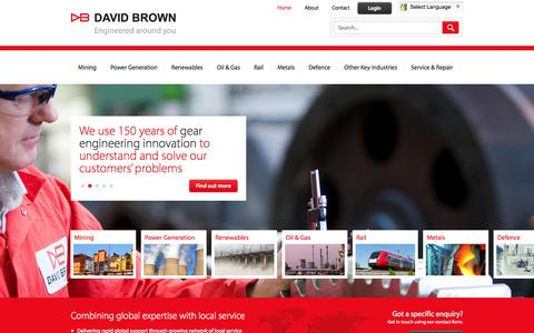 Screenshot of Home Page davidbrown.com - David Brown Gear Systems Ltd - captured Oct. 5, 2014