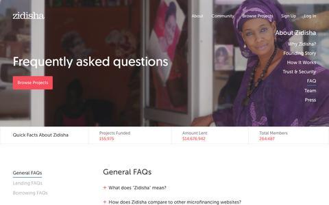 Screenshot of FAQ Page zidisha.org - Zidisha       FAQ - captured Sept. 19, 2018