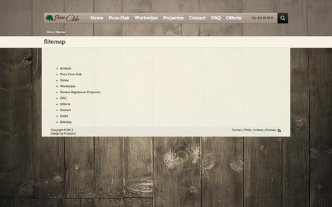 Screenshot of Site Map Page pure-oak.be - Sitemap Pure OakEiken bijgebouwen Pure-Oak - captured Sept. 30, 2014