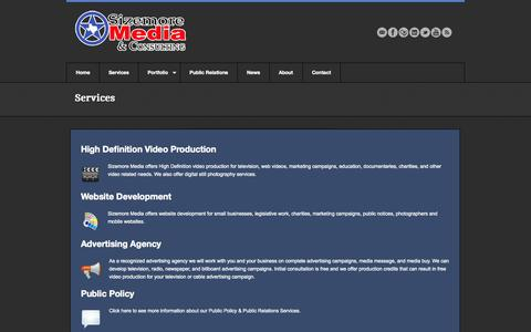 Screenshot of Services Page sizemoremedia.com - Services   Sizemore Media & Consulting - captured Oct. 4, 2014