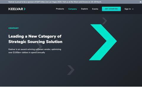 Screenshot of About Page Locations Page keelvar.com - Leading a New Category of   Strategic Sourcing Solution - captured Feb. 17, 2020