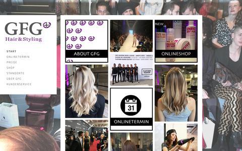 Screenshot of Home Page gfg-life.com - START - GFG® Hair & Styling - captured July 12, 2017
