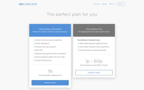 Screenshot of Pricing Page gocardless.com - Pricing - GoCardless - captured March 8, 2016