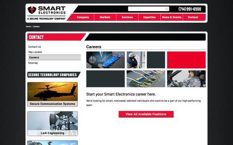 Screenshot of Jobs Page smartelec.com - Careers - Smart Electronics - captured Oct. 9, 2014