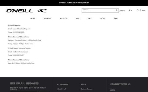 Screenshot of Contact Page oneill.com - Contact Us – O'Neill - captured Sept. 20, 2018