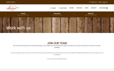 Screenshot of Jobs Page residenceambient.ro - Work with us | Ambient Residence - Brasov (Romania) - Book at the best Price - captured June 14, 2017
