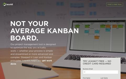 Screenshot of Landing Page leankit.com - LeanKit Kanban Boards - Not Your Average Kanban Board | LeanKit - captured Dec. 10, 2016
