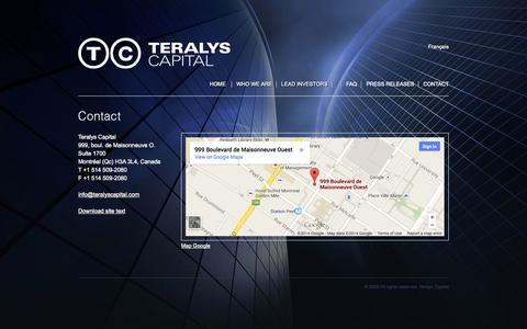 Screenshot of Contact Page teralyscapital.com - Teralys Capital :: Contact - captured Oct. 9, 2014