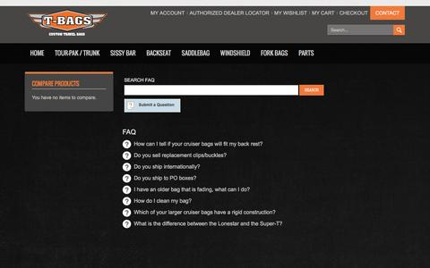 Screenshot of FAQ Page tbags.com - T-Bags - Custom Motorcycle Luggage - captured Feb. 28, 2016