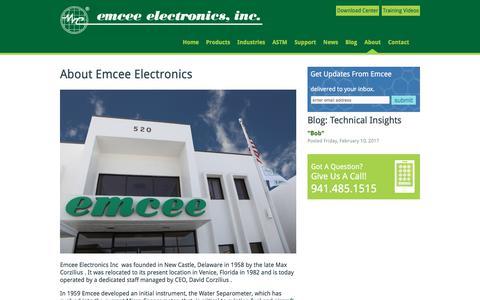 Screenshot of About Page emcee-electronics.com - About Emcee Electronics: Emcee Electronics - captured Feb. 15, 2018