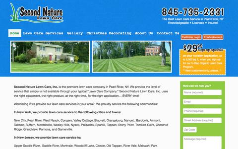 Screenshot of Home Page secondnaturelawncare.com - Lawn service, tree and shrub care serving Rockland, Westchester, Orange NY and Bergen NJ - captured Oct. 6, 2014