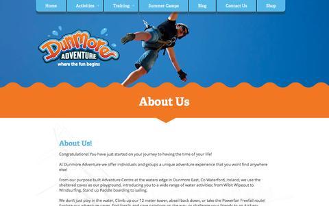 Screenshot of About Page dunmoreadventure.com - Dunmore Adventure - captured Nov. 3, 2014