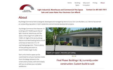 Screenshot of About Page drybridgecommercepark.com - About   Dry Bridge Commerce Park Light Industrial Warehouse Flex Space For Sale Or Lease - captured Oct. 29, 2014