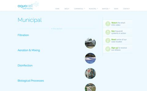 Screenshot of Products Page aquacell.com.au - Municipal | Aquacell - captured Nov. 9, 2018
