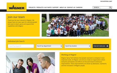Screenshot of Jobs Page wagnerspraytech.com - Careers: Wagner SprayTech USA - captured Oct. 22, 2015