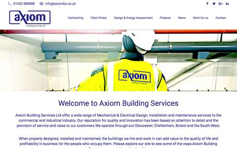Screenshot of Home Page axiombs.co.uk - Axiom Building Services - Gloucestershire - captured Feb. 6, 2016