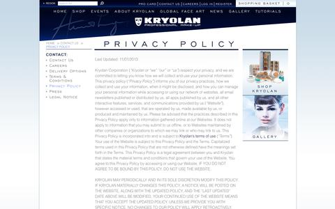 Screenshot of Privacy Page kryolan.com - Privacy Policy | Kryolan - Professional Make-up - captured Oct. 17, 2017