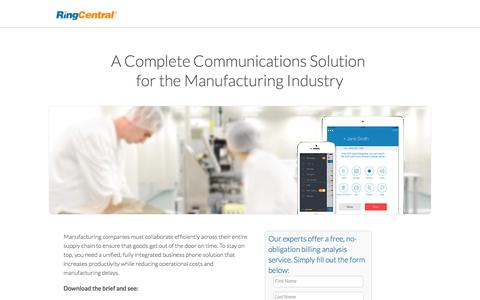 Screenshot of Landing Page ringcentral.com - A Complete Communications Solution for the Manufacturing Industry - captured June 12, 2016