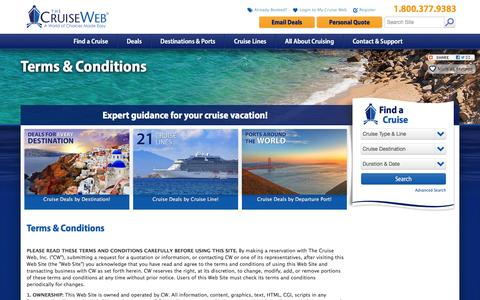 Screenshot of Terms Page cruiseweb.com - Terms and Conditions for The Cruise Web's Site | The Cruise Web - captured Feb. 10, 2016