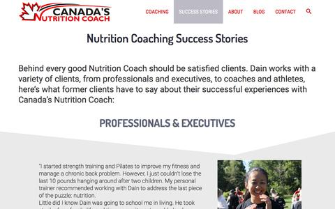 Screenshot of Testimonials Page canadasnutritioncoach.com - Canada's Nutrition Coach Testimonials and Reviews - captured Jan. 8, 2018