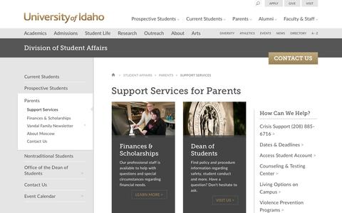 Screenshot of Support Page uidaho.edu - Support Services - Parents - University of Idaho - captured Nov. 17, 2016