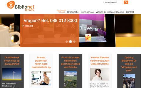 Screenshot of Home Page biblionetdrenthe.nl - Nieuws - captured Nov. 6, 2018