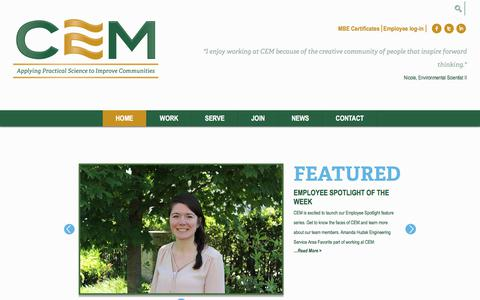 Screenshot of Home Page cemscience.com - Home | Chesapeake Environmental Management | Bel Air, MD - captured July 28, 2017